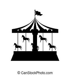 cavalos, ir, silueta, redondo, feliz