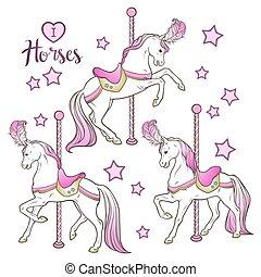 cavalos, jogo, carrossel