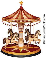 cavalos, marrom, carrossel