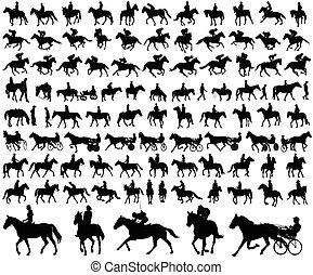 cavalos, montando, cobrança