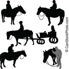 cavalos, montando, crianças