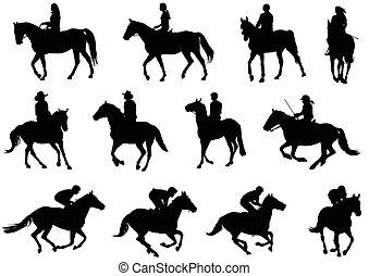 cavalos, montando, silhuetas, pessoas