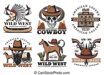 cavalos, oeste, ícones, selvagem, boiadeiro