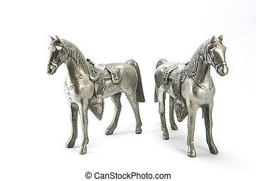 cavalos, prata, estátua