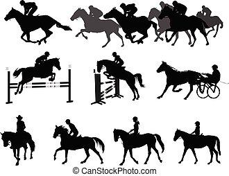 cavalos, recreação, eqüestre, set., silhuetas, montando, desporto