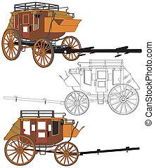 cavalos, stagecoach, sem