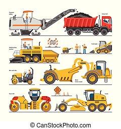 cavamento, bianco, macchina, costruttivo, vettore, isolato, fondo, illustrazione, scavatore, veicoli, costruzione, strada, vangata, scavo, o, pala, bulldozer, set, scavatore, macchinario
