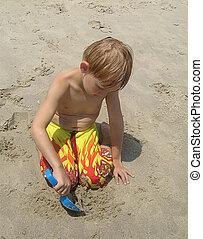 cavando, areia
