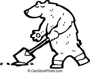 cavando, urso, caricatura