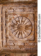 Cave 2 : Ceiling showing a wheel with sixteen fish spokes in a square frame. Badami Caves, Karnataka.