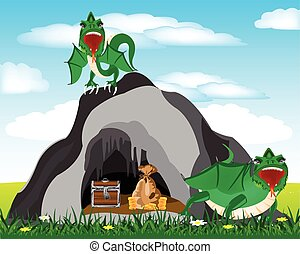 Cave and dragons - Cave in grief and dragons protecting...