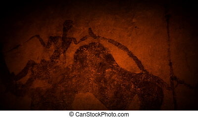 Cave Art Human Figures In Fire Light - Moving across ancient...