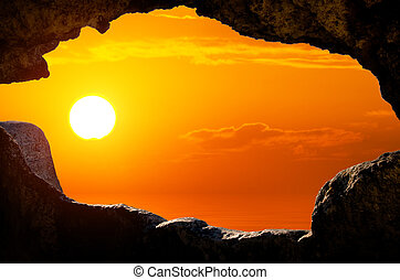 view through the window of the cave dwellings - Cave City. ...