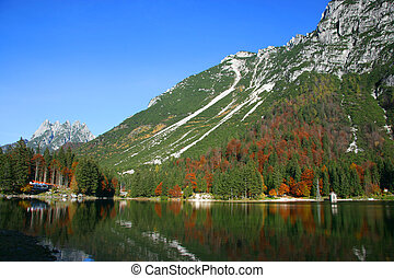 Cave del Predil lake in fall