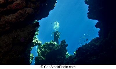 cave diving underwater scuba divers exploring cave dive. Red...