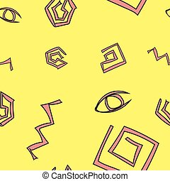 Cave Drawings On The Yellow Background