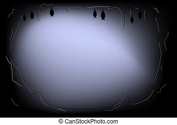 Illustration of dark cave with bats