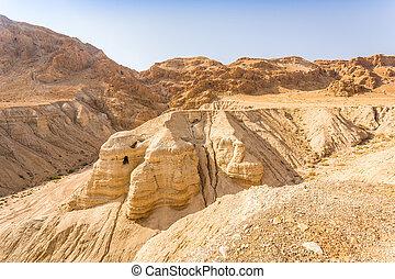 Cave in Qumran, where the dead sea scrolls were found,...
