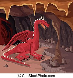 Cave interior background with dragon greek mythological creature