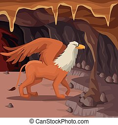 Cave interior background with griff greek mythological creature