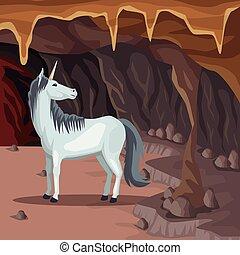 Cave interior background with unicorn greek mythological creature