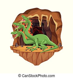 Cave interior scene with hydra mythological creature