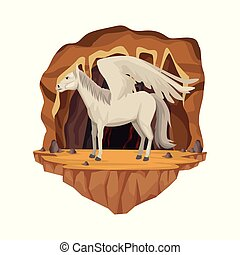 Cave interior scene with pegasus greek mythological creature
