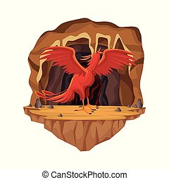 Cave interior scene with phoenix greek mythological creature