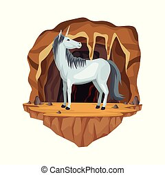 Cave interior scene with unicorn greek mythological creature