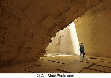 cave-like, uomo affari, interno
