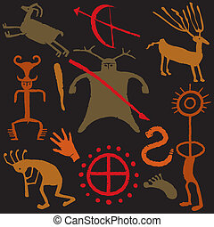 Cave man warrior with Cave painting