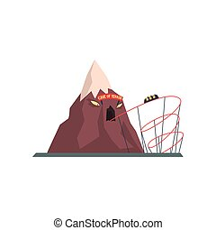 Cave of terror with tunnel for tram. Extreme attraction. Mountain with evil face. Amusement park. Funfair or carnival. Flat vector design element for poster or flyer