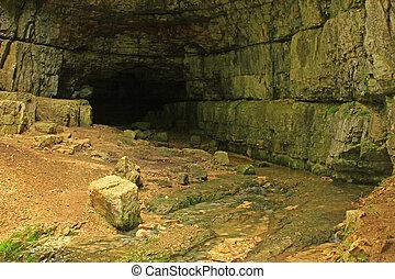 """Cave on the Swabian Alb (called """"Falkensteiner Hoehle""""), Baden-Wuerttemberg, Germany"""