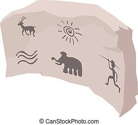 Cave painting icon, isometric style