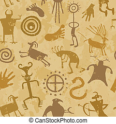 Cave Painting with animals and hunters