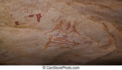 Cave paintings and petroglyphs in Tassili nAjjer national park, Algeria