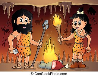 Cave people theme.