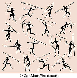 Cave rock painting tribal people silhouettes vector set