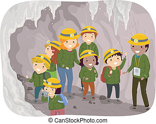 Cave Tour Kids - Illustration of Preschool Kids on a Cave...