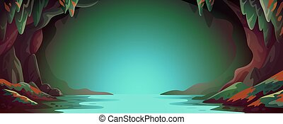 Cave - vector cartoon background. Cavern landscape with an underground river in greenish-blue colors. Vector illustration in flat cartoon style.