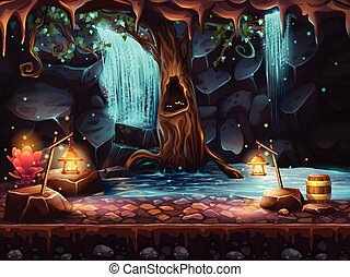 Cave with a waterfall and a magic tree and barrel of gold -...