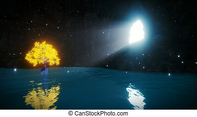 Cave with water pond and magical golden tree, panning