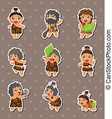caveman, adesivi, cartone animato