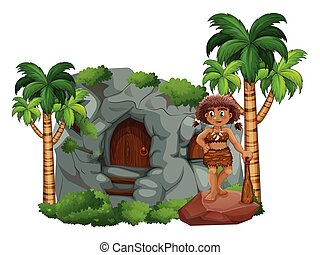 Caveman and cave - illustration of a caveman standing in ...