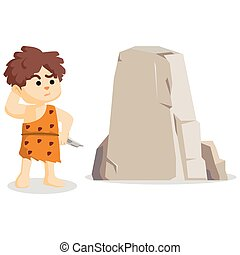 caveman being confused with the rock in front