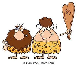 caveman, brunetta, coppia, donna