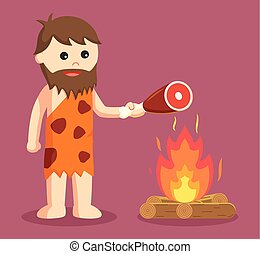 caveman burn meat vector