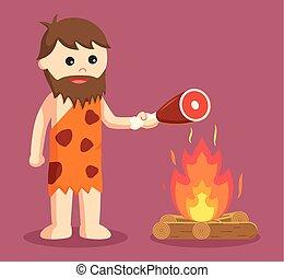 caveman burn meat vector