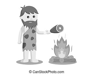 Caveman burn meat vector illustration design