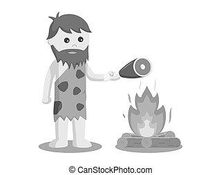 Caveman burn meat vector illustration design